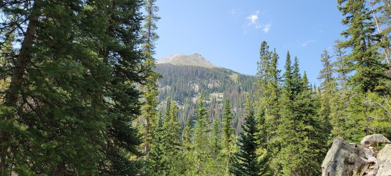 A mountain peak peaking out from the trees on the Kroenke Lake trail