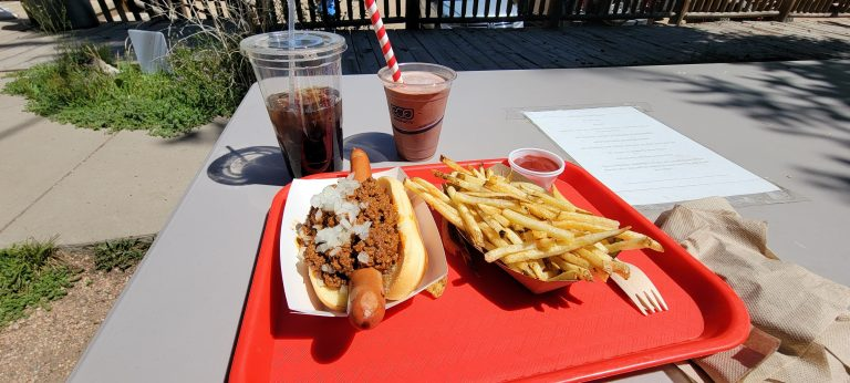 The Coney Dog which has chili and onions on a foot long dog.  A side of fries and a chocolate malt with a red and white extra wide striped straw.