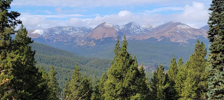 The snow and cloud covered peaks from Boreas Pass