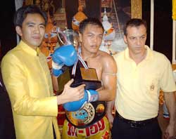 Madsua with manager Stephen Fox