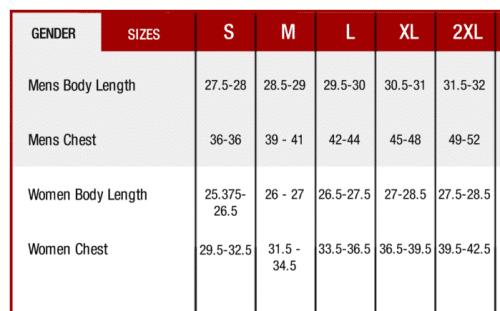 Next Level T Size chart