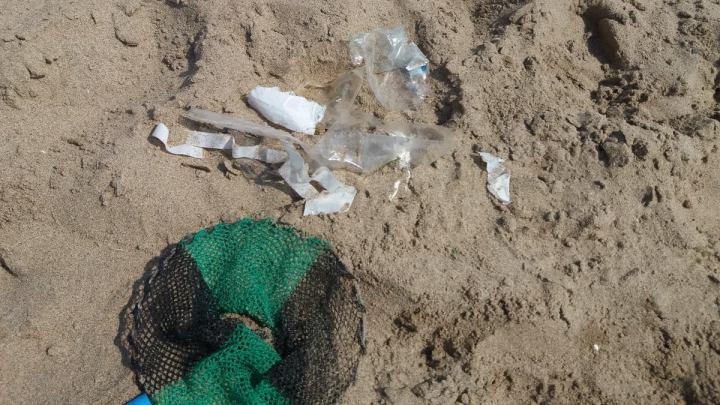 Pesca della plastica e i bambini tengono pulito il mare