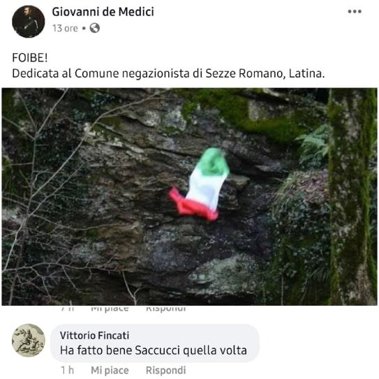 """Sezze: Foibe… """"Saccucci ha fatto bene"""". La follia su fb"""