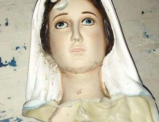 Decapitata la statua della Madonna a Borgo Sabotino