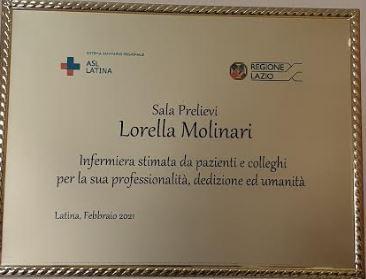 Lorella Molinari: una targa per ricordare la generosità nel dolore