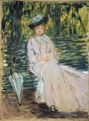 Donna seduta alla panchina