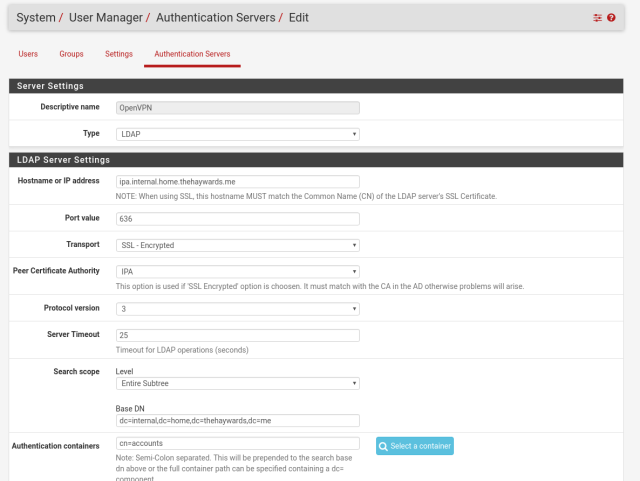 pfsense authentication servers 1