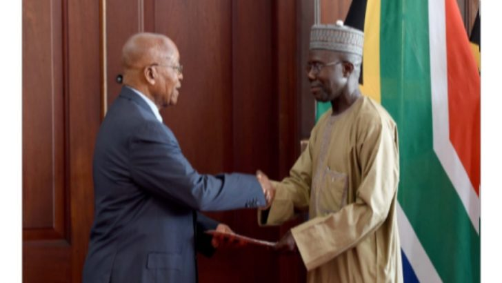 Former Speaker Of The House Presents Letters Of Credence To Jacob Zuma