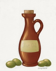 Digital painting of olive oil bottle with highlights added.