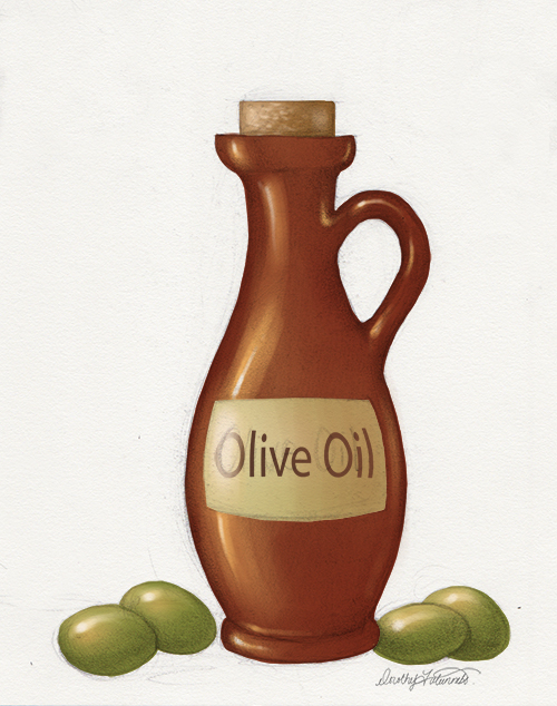Digital painting of olive oil bottle with label text added