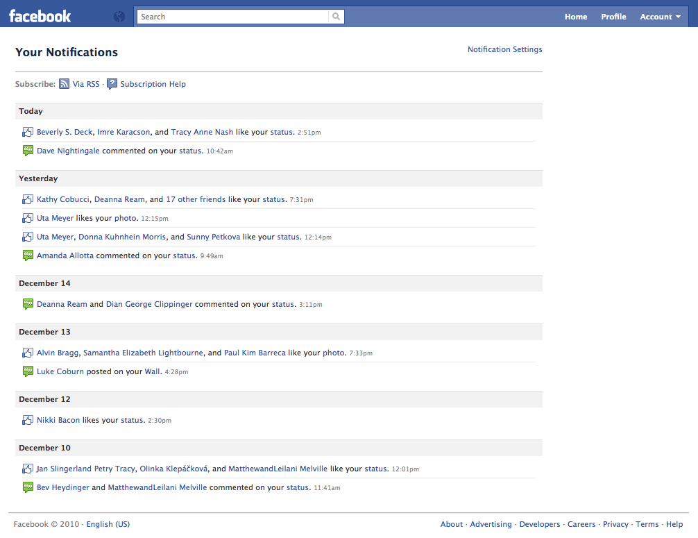 how to delete notifications on facebook history