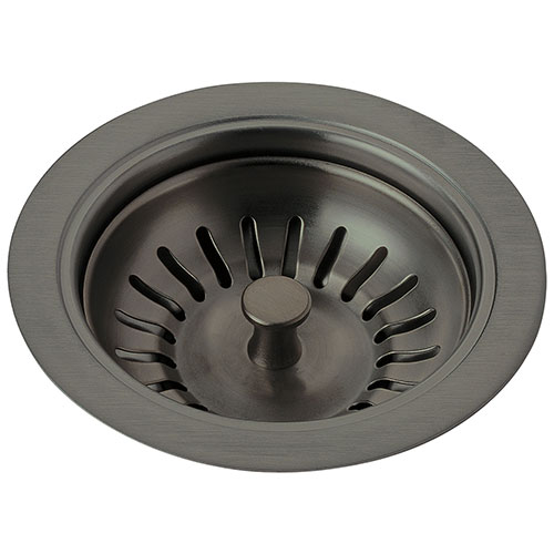 delta contemporary black stainless steel finish kitchen sink flange and basket strainer d72010ks