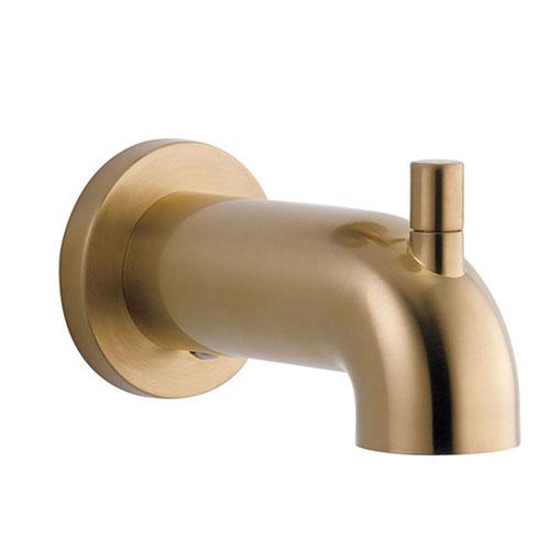 delta trinsic champagne bronze finish pull up diverter tub spout drp73371cz