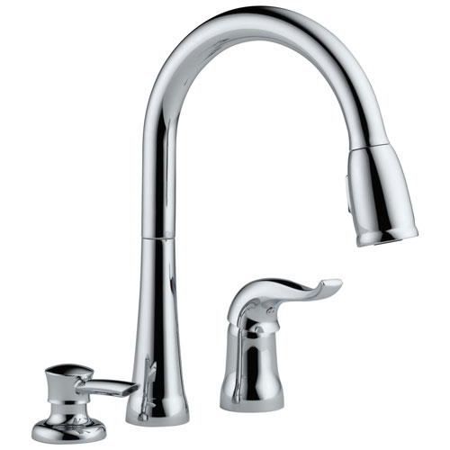 delta chrome finish single handle pull down sprayer kitchen sink faucet with soap dispenser 473782
