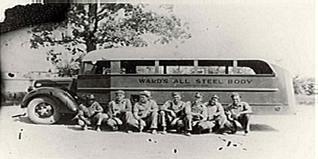 Ward Bus Body Shop, crew and bus, 1936 (Courtesy of the FCHS and UCA Archives)