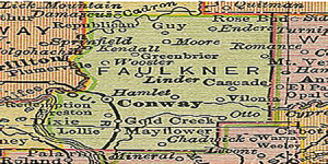 Faulkner County map, Faulkner County Historical Society