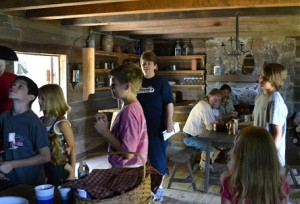 Young visitors enjoy the Cadron Blockhouse, Faulkner County Arkansas (photo from OurFamiliesUntoldStories.com by Susie Higginbotham, used with permission)