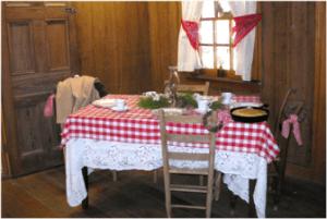 Christmas display at the Museum's dogtrot cabin, Faulkner County Arkansas