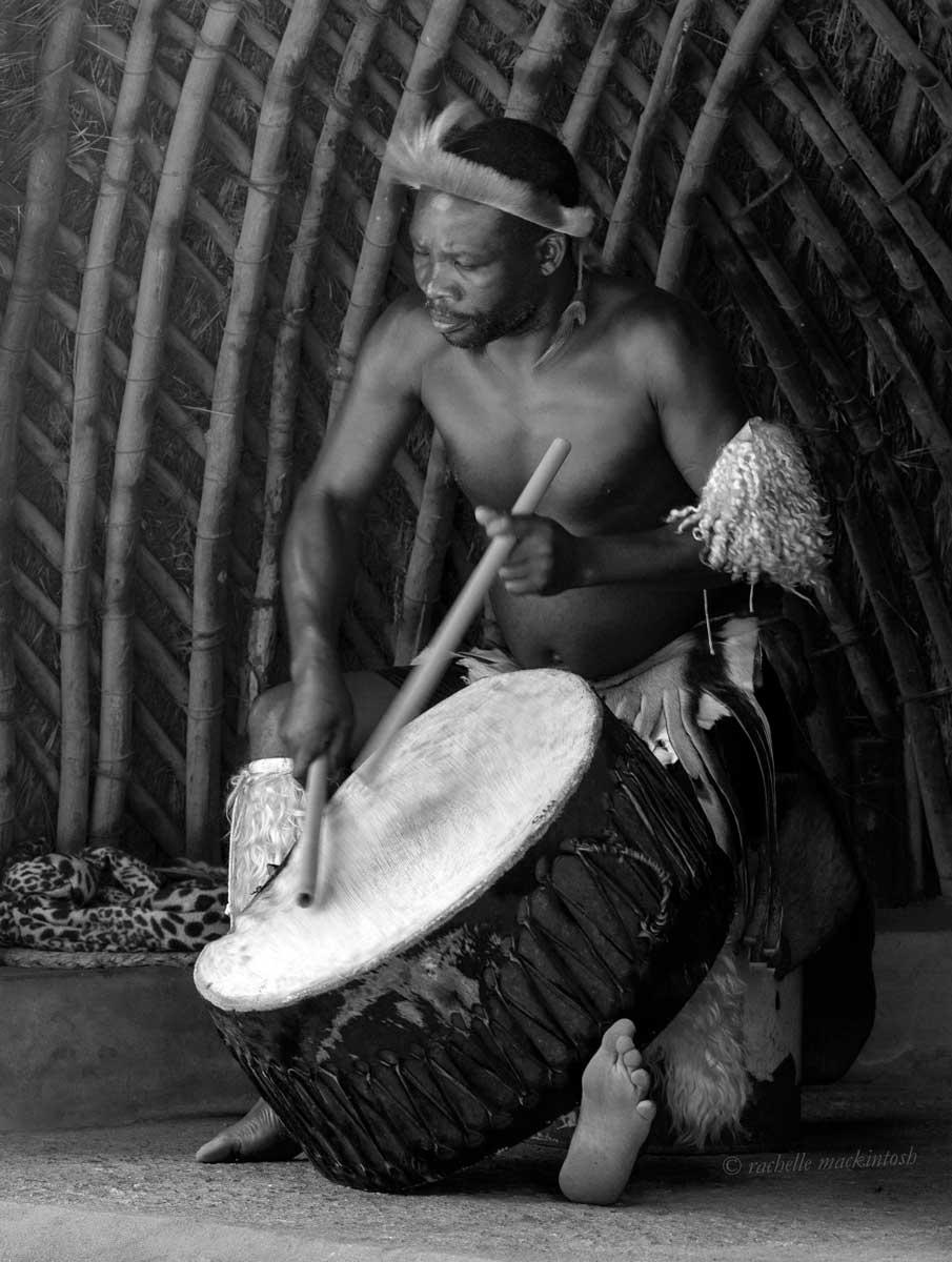 zulu drummer durban south africa black and white