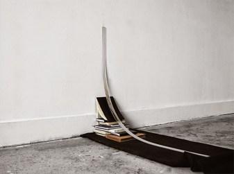 """Hyperbola"", installation, sketch books, acrylic mirror, fabric"