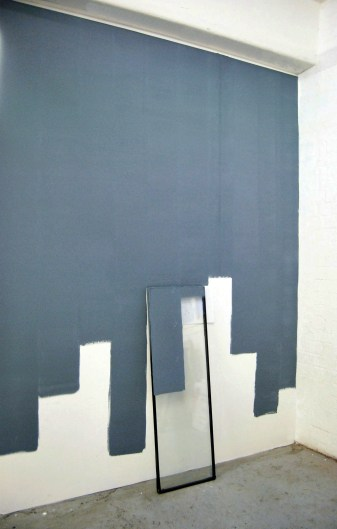 """Lost,between the day and night"",2012-2013, wall painting installation, part of the window,pencil paper"