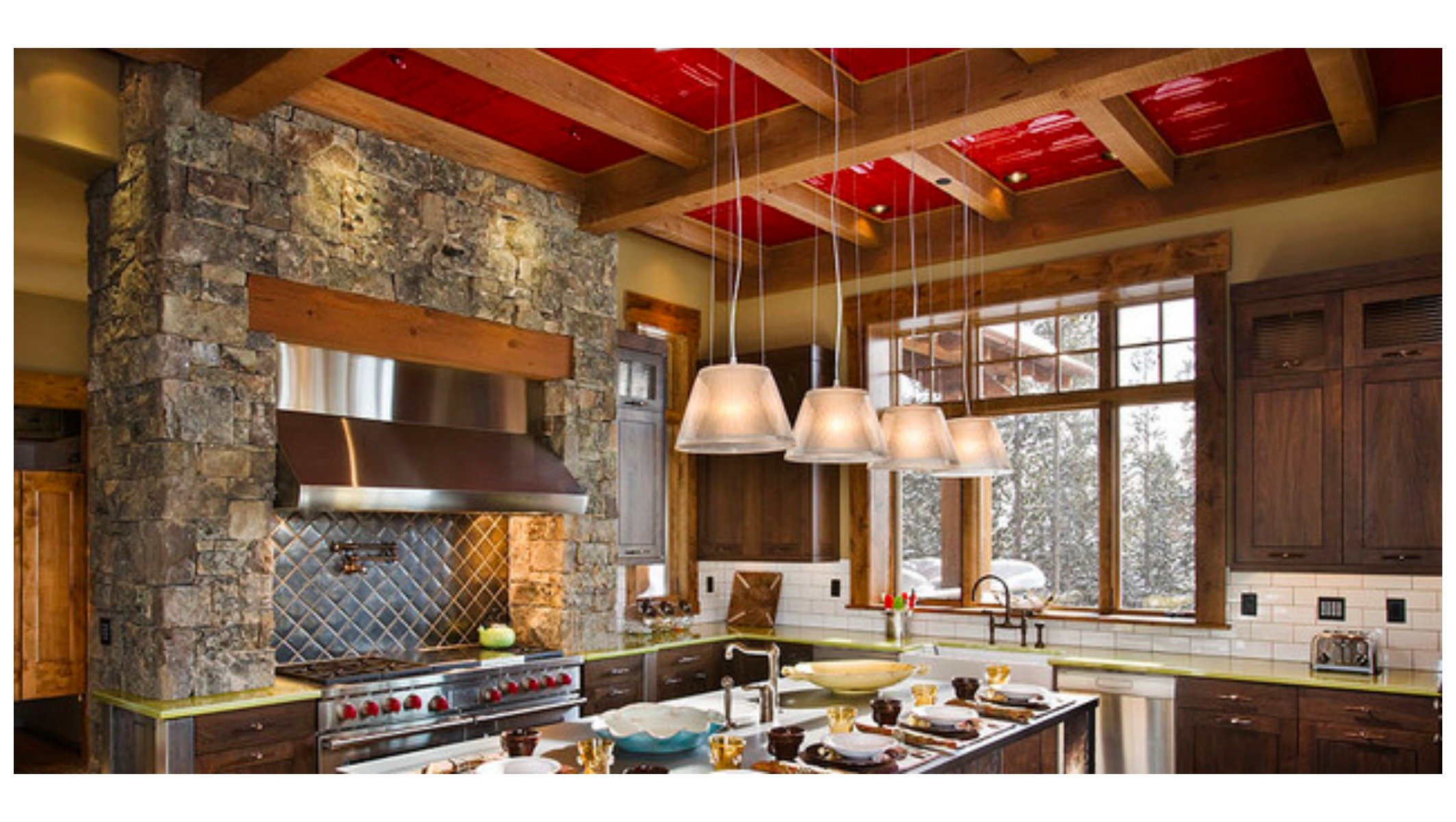 Red Tin Ceiling Tiles Add A Punch Of Color To A Neutral
