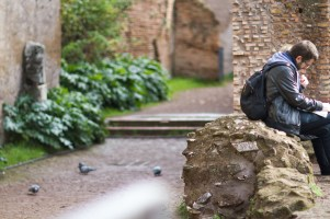 """Taking a little rest after climbing many stairs and hills. (I know; what part of """"Palatine Hill"""" didn't I understand)."""