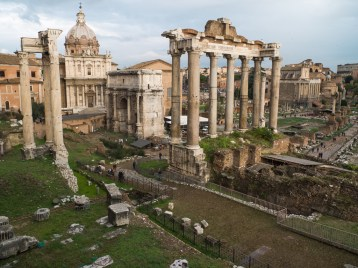 Roman Forum behind Capitoline Hill as seen from the Portico Dil Consentes.