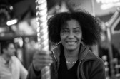 Carline in the carousel. This shot was nearly impossible to take given that we both were moving and I was focusing manually. Leica M-P / Summilux 50mm