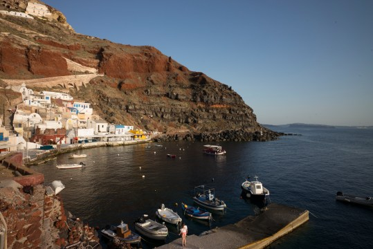 View from our restaurant in Oia before the sunset