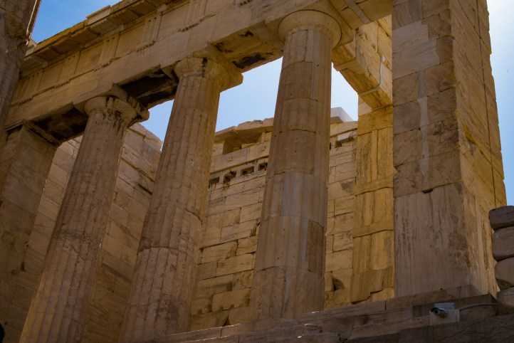 "It was very difficult taking a ""pure"" picture of the Parthenon without tourinst and construction gear all around it."