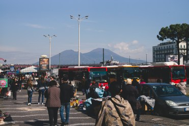 Mt. Vesuvius looming over Naples and the Naples Central Train Station