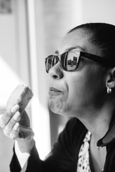 Carline eating a pastacciotto, which is the iconic pastry of Lecce.