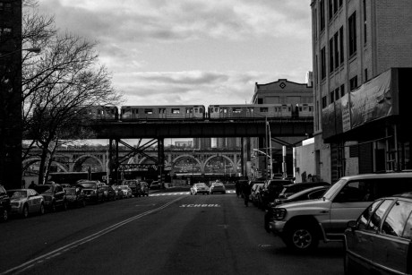 Train on Broadway as viewed from W 131 St