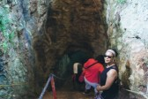 Carline entering the cenote