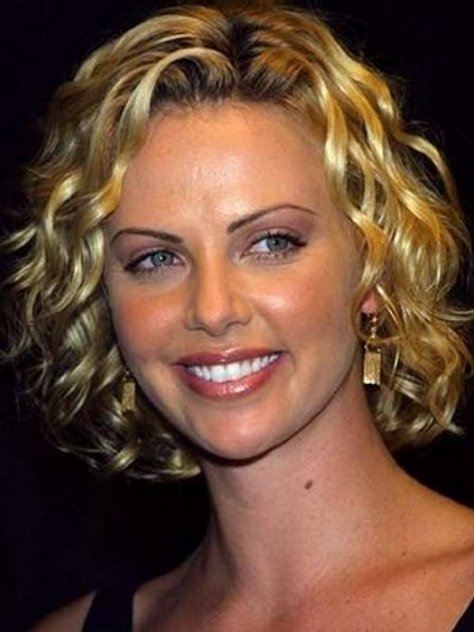 short hairstyles for curly hair and round face
