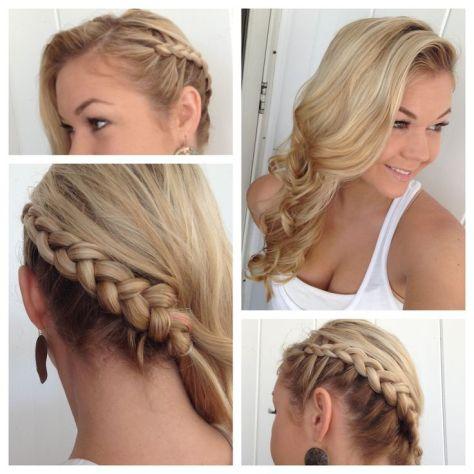 Side braid with Classic Curls