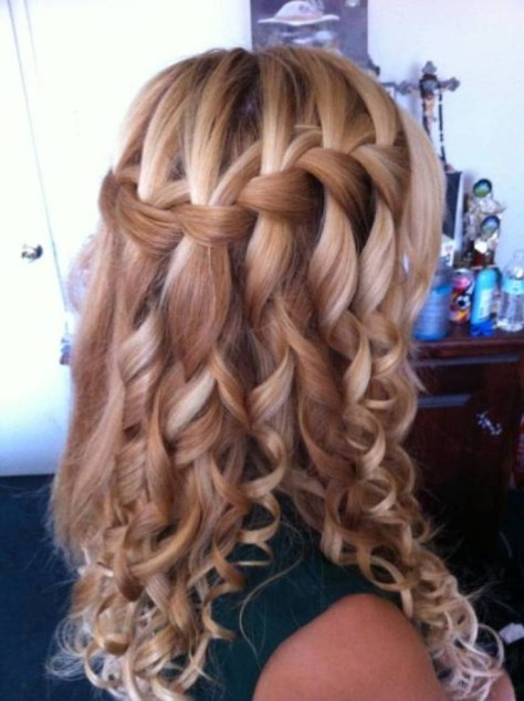 Waterfall French Braid for Curly Long Hair
