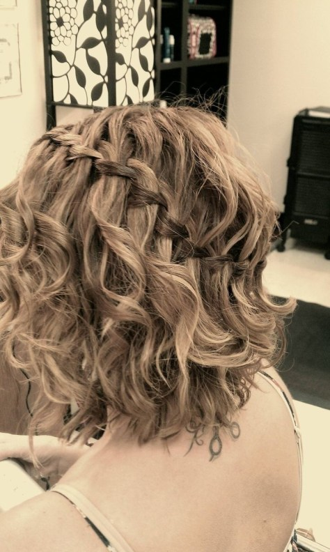 Short Curly Hair Waterfall Braid