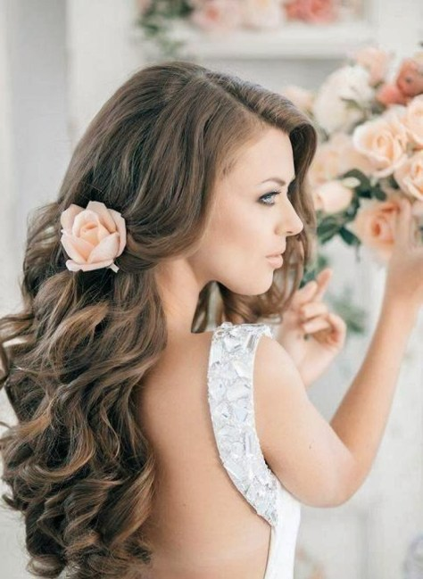 long hair down styles for weddings