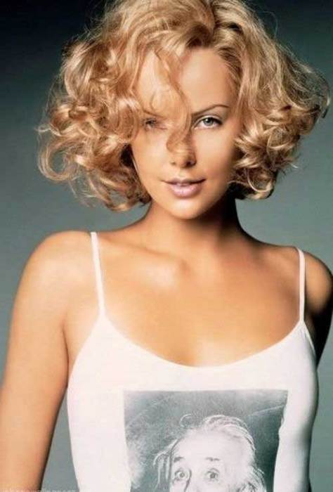 Short Haircut for Curly Thick Hair Blonde Frizzy Hair