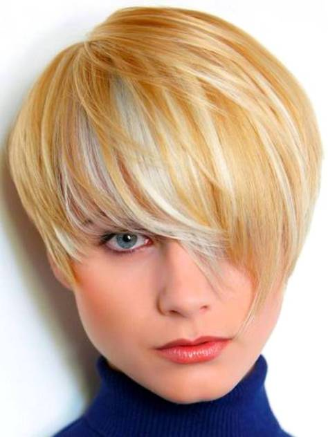 Short Hairstyles for Round Faces in Cute Color