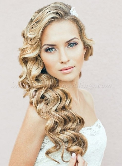 hair down wavy wedding hairstyle