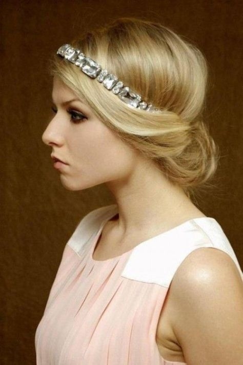 Half Up Bridesmaid Hairstyle With Headband for Long Hair