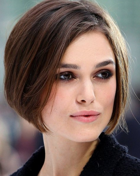 Brunette short and close to the head bob that caresses the chin.