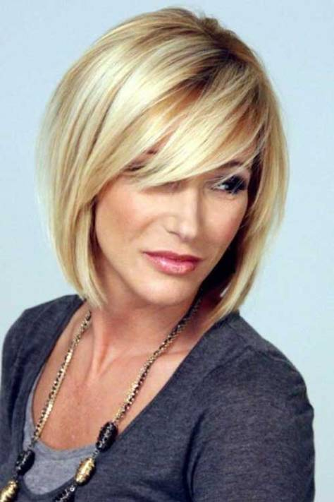 Short blonde hair with color variations and a cut with bulk in the top.
