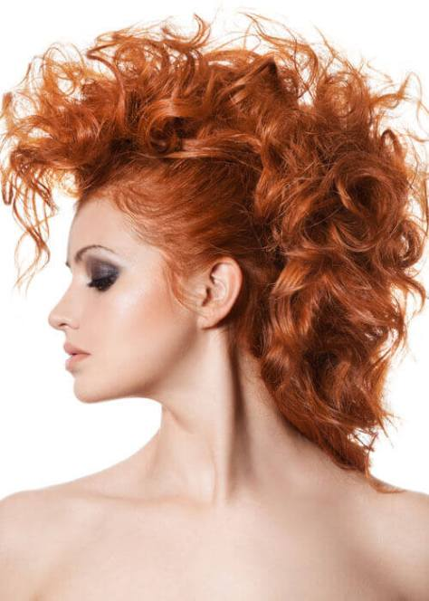 Medium Red Fauxhawk with Copper Curls