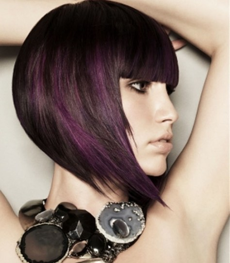 Purple A line bob haircut with one extended point length.