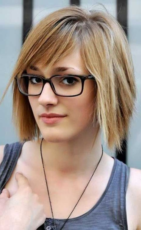 Bob haircut for fine straight hair with glasses.