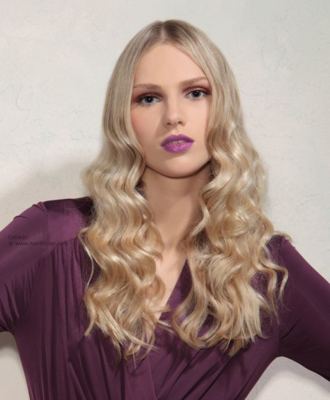 30 Long hair with large waves, created with large curlers